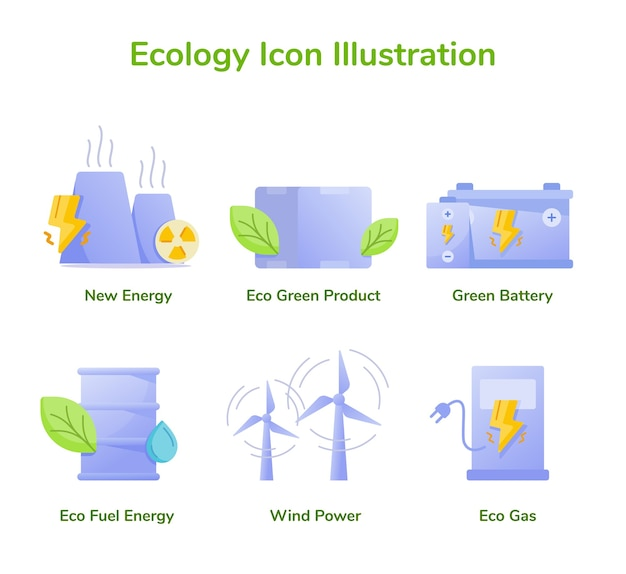 Ecologia icon set collection new energy eco green product green battery eco fuel energy wind power