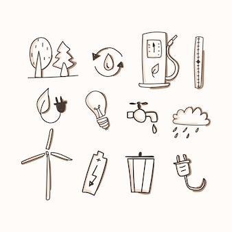 Ecologia del set di icone. disegnare a mano