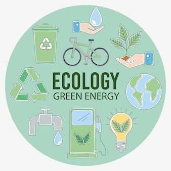 Icone di ecologia in cerchio