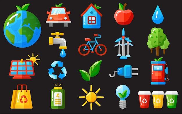 Le icone di ecologia hanno messo l'illustrazione di vettore.