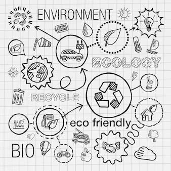 Icone di tiraggio della mano infografica ecologia. schizzo integrato doodle illustrazione per concetti ambientali, eco-friendly, bio, energia, riciclo, auto, pianeta, verde. set di pittogrammi collegati a tratteggio.