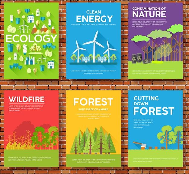 Schede informative sull'ecologia impostare illustrazione