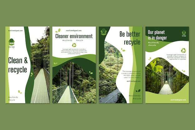 Collezione di storie di instagram di ecologia