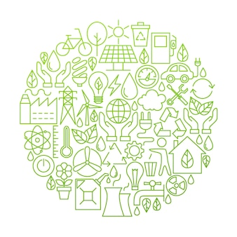 Ecologia linea icona cerchio design. illustrazione vettoriale di oggetti green power e ambiente.