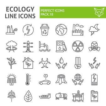 Insieme dell'icona di linea di ecologia, schizzi di vettore di raccolta eco,