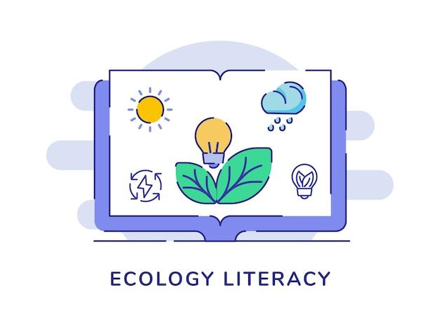 Alfabetizzazione ecologica concetto sole nuvola pioggia riciclaggio energia foglia lampadina lampadina