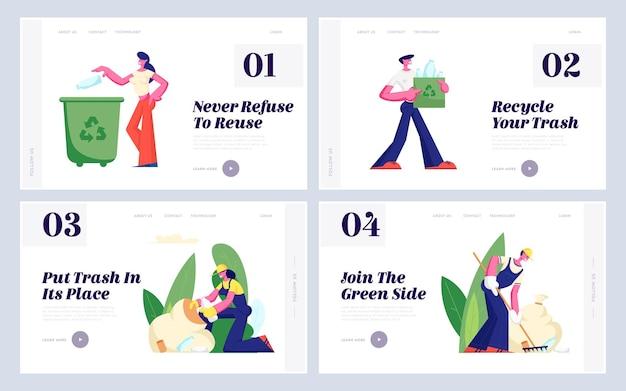 Protezione dell'ecologia, riciclaggio, set di pagine di destinazione del sito web di riutilizzo della plastica