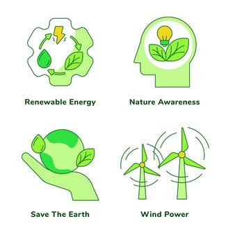Insieme di ecologia della consapevolezza della natura delle energie rinnovabili salva la terra
