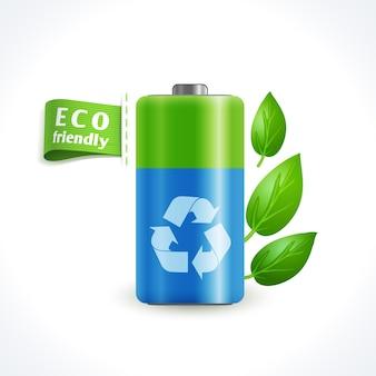 Batteria di simbolo di ecologia
