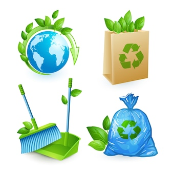 Icone di ecologia e di rifiuti impostati