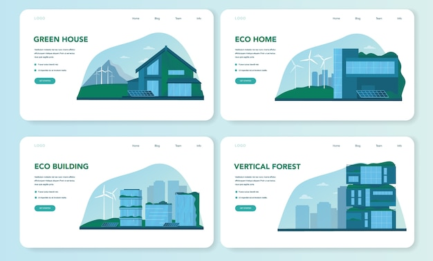 Set di pagine di destinazione web ecologia. edificio ecologico con bosco verticale e tetto verde. energia alternativa e albero verde per un buon ambiente in città. illustrazione vettoriale