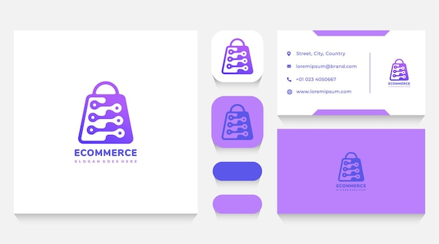 Borsa e-commerce e modello di logo tecnologico e biglietto da visita