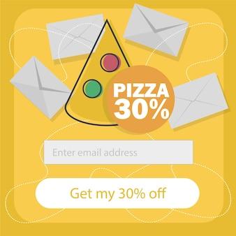 Il concetto di e-commerce ordina il fast food online. iscriviti al modulo di newsletter - illustrazione di cartone animato piatto vettoriale per pubblicità, siti web, design di banner. servizio di consegna con sconto