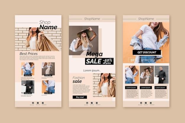 Pacchetto di modelli di email per l'e-commerce