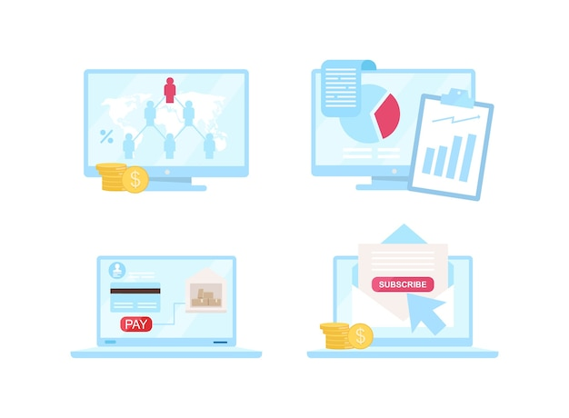 Set di oggetti di colore piatto e-commerce. modello di network marketing. scaricare la consegna. sottoscrizione. ebusiness ha isolato l'illustrazione del fumetto per la progettazione grafica web e la raccolta di animazione