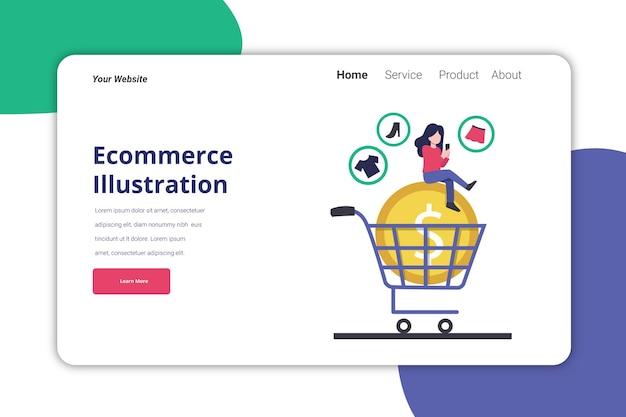 Design piatto del modello dell'illustrazione della pagina di destinazione dell'e-commerce