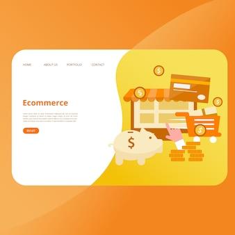 Modello di vettore di pagina di atterraggio di e-commerce