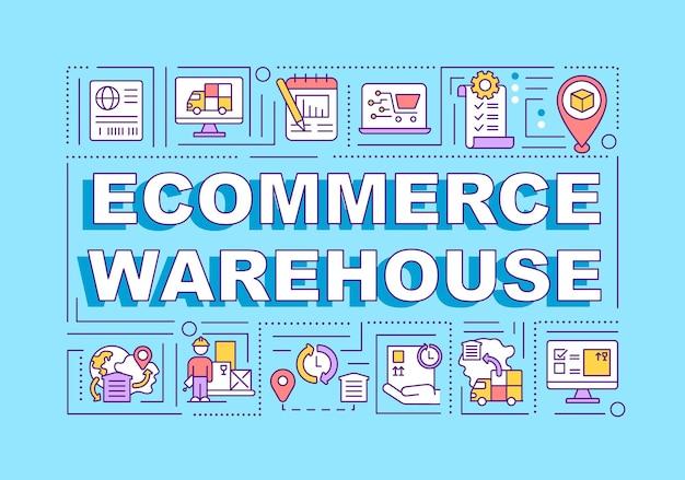 Banner di concetti di parola di magazzino e-commerce