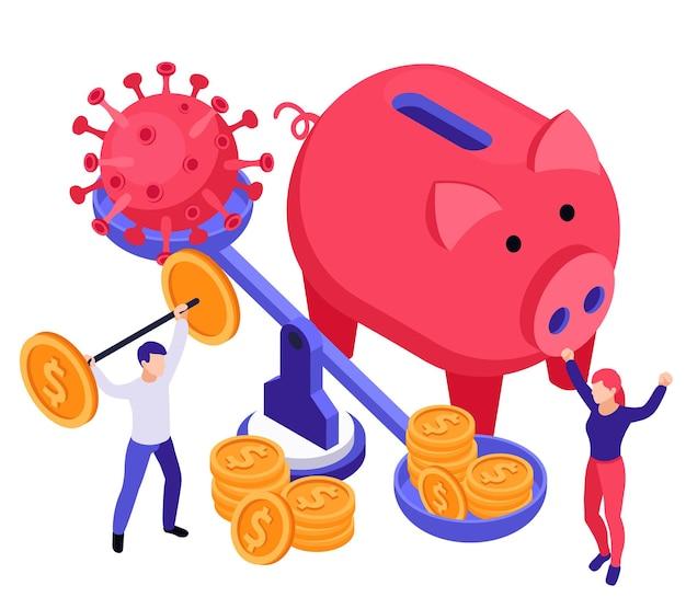 Illustrazione isometrica di recupero di affari economici con peso, monete, virus e salvadanaio