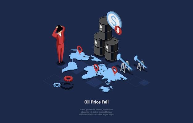 Illustrazione isometrica di vettore del concetto di crisi economica. composizione 3d in stile cartone animato di idea caduta prezzo del petrolio. uomo d'affari scioccato in piedi vicino alla mappa del mondo con i segni del navigatore e barili di benzina.