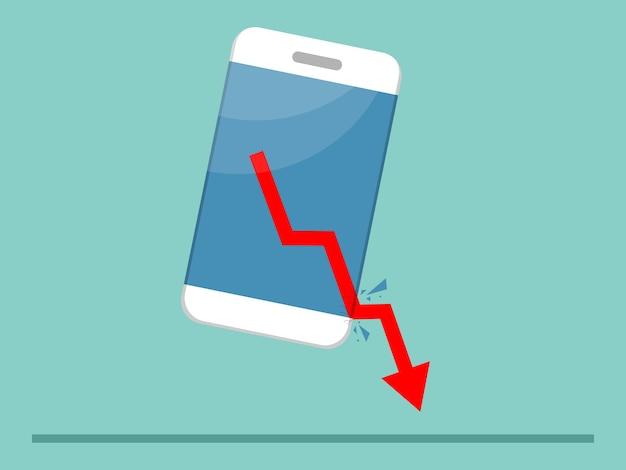 Crisi economica freccia rossa verso il basso sfondando dall'illustrazione dello schermo mobile piatta