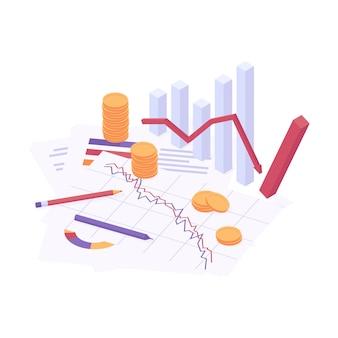 Illustrazione vettoriale isometrica di crisi economica