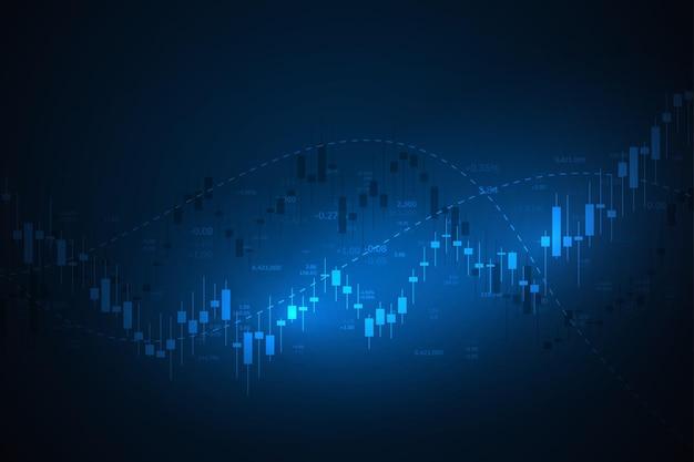 Grafico economico con diagrammi sul mercato azionario, per concetti e report aziendali e finanziari. candele giapponesi. sfondo vettoriale astratto