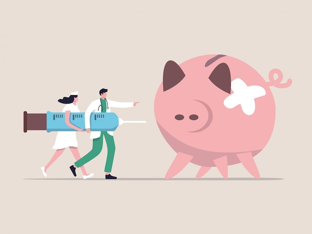 Stimolo economico, qe quantitative easing, politica monetaria in economia in crisi finanziaria o recessione economica, medico che trasporta siringa di medicina o vaccino per iniettare salvadanaio con malattia rotta.