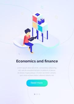 Economia e finanza uno specialista con un laptop monitora le prestazioni