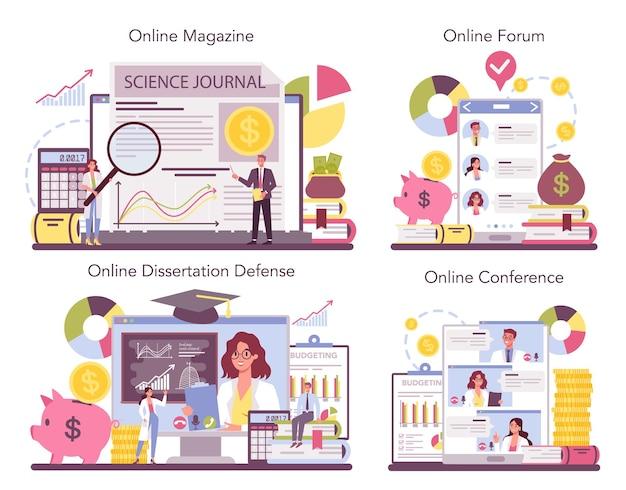 Servizio online economista o set di piattaforme.