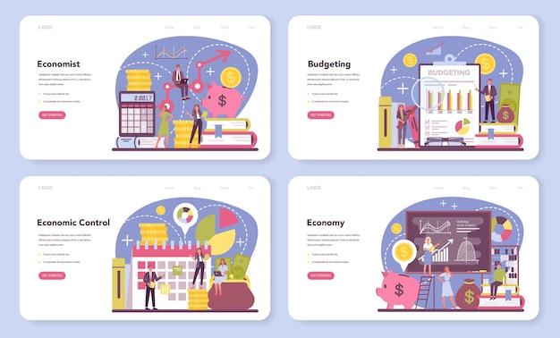 Banner web economista o set di pagine di destinazione.