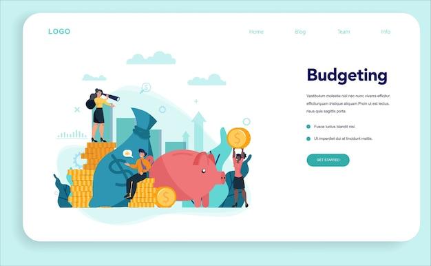 Banner web di concetto di economisti o pagina di destinazione