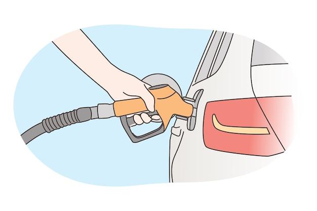 Economia, riempimento, concetto di benzina.