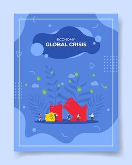 Illustrazione di crisi economica o finanziaria Vettore Premium