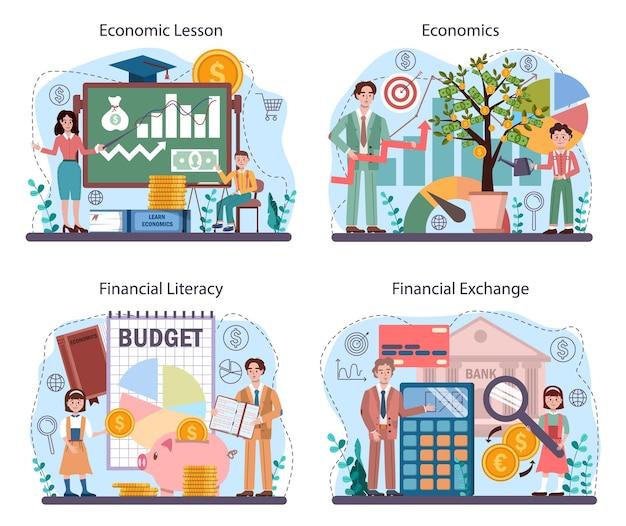 Insieme di concetti di materia scolastica di economia. studente che studia economia globale e denaro. idea di capitale aziendale, investimento e budget. illustrazione vettoriale in stile cartone animato