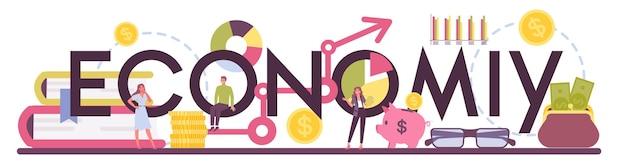 Parola tipografica di economia. scienziato professionista che studia economia e denaro. idea di budgeting economico. capitale aziendale.
