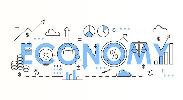 Composizione di lettere colorate parola economia lettere blu su bianco