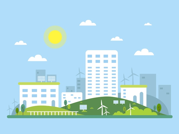 Immagine del concetto di ecosistema del paesaggio urbano. energia alternativa solare ed eolica. illustrazione