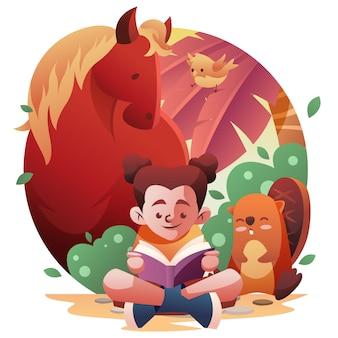 Libro di lettura della ragazza della fauna di ecoturismo con il cavallo e l'uccello del castoro