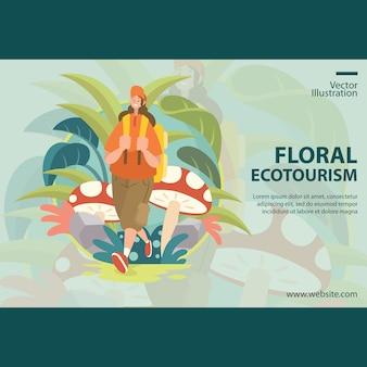 Ecoturismo floreale, vacanza della ragazza intorno alla foresta