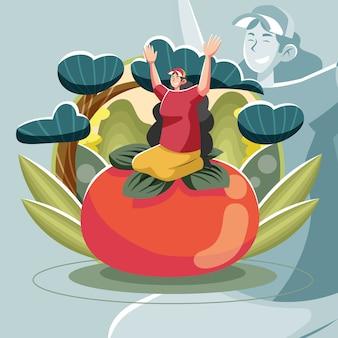 Ecoturismo floreale, ragazza sedersi sulla frutta felicemente