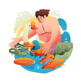 Uomo di ecoturismo che nuota con anatra e oca