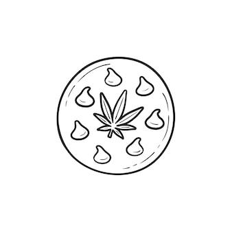Icona di doodle di contorno disegnato a mano di biscotto di cannabis commestibile. marijuana medica aziendale, concetto di cibo alla cannabis