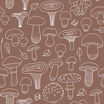 Modello senza cuciture di funghi commestibili e non commestibili con una collezione di icone lineari su un fondo artigianale marrone