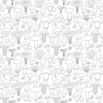 Funghi commestibili e foglie senza cuciture su uno sfondo bianco isolato stampa di funghi di foresta f...