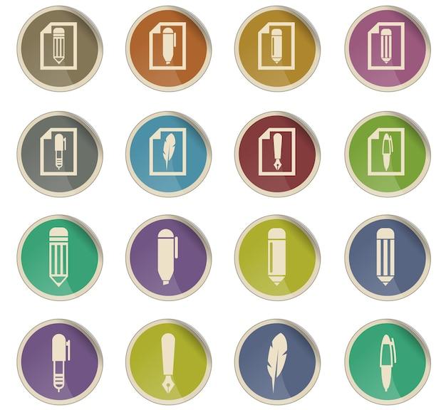 Modifica le icone vettoriali sotto forma di etichette di carta rotonde