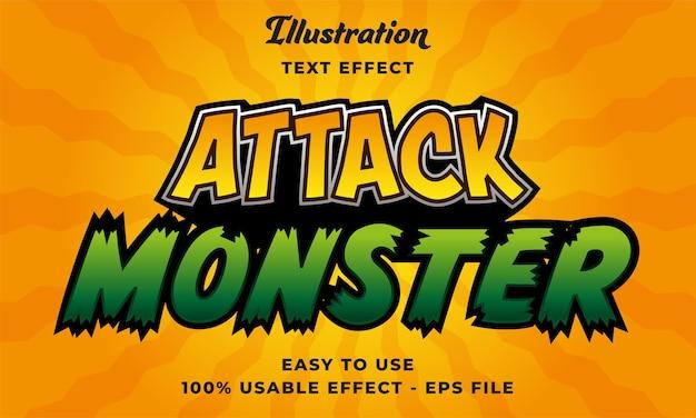 Effetto di testo vettoriale modificabile attacco mostro con design in stile moderno