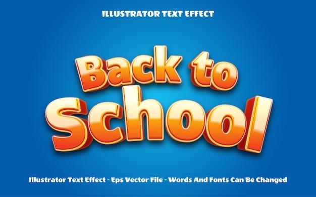 Effetto stile testo 3d di ritorno a scuola modificabile