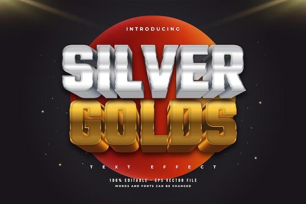 Effetto di testo in grassetto modificabile in stile argento e oro con effetto in rilievo Vettore Premium