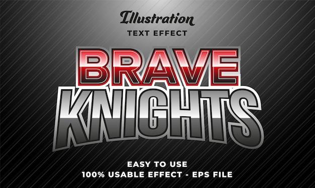 Effetto testo vettoriale modificabile dei cavalieri coraggiosi con un design in stile moderno